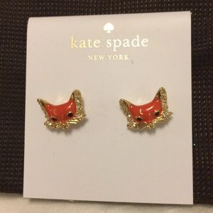 Kate Spade NWT into the woods fox earrings